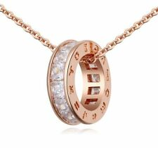 18K ROSE Gold Plated Pure White Crystals from Swarovski Chain Pendant Necklace