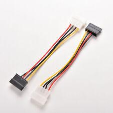 New 2x 4-Pin IDE Molex to 15-Pin Serial ATA SATA Hard Drive Power Adapter Cable