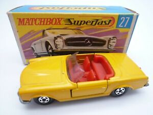 VINTAGE MATCHBOX SUPERFAST No.27d MERCEDES BENZ 230 SL IN ORIGINAL BOX 1971 HTF