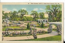 rose garden,jacob l. loose park,kansas city missouri postcard 1940s era