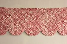 Toile antique French fabric valance quilted textile c1830 Alsace pink ruffle