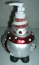 Anna's Soap / Lotion Dispenser Round Snowman Christmas Gift Bathroom Accessory