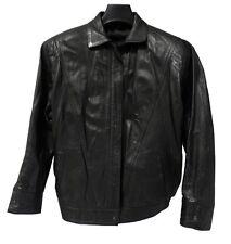 Veste en cuir noir taille L femme fille manteau leather jacket OCCASION TBE