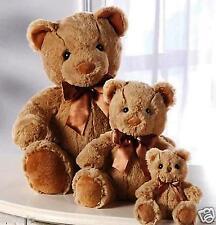 "3 SOFT PLUSH TEDDY BEAR FAMILY COLLECTION SET OF THREE ~ 4-1/2"" + 8-1/2"" + 12"""