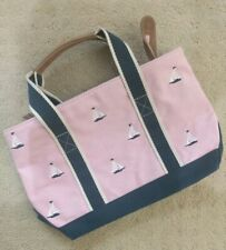 """LL Bean Boat Tote Bag Zip Top Sailboat Embroidered Pink Blue Canvas Purse 13""""x8"""""""