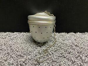 Vintage Aluminum Tea Infuser Loose Leaf Screw On Lid with Chain & Hook