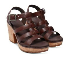 "Timberland Roslyn Fisherman Sandals 9 1/2 Dark Brown 9.5 Leather + Cork 4"" Heel"