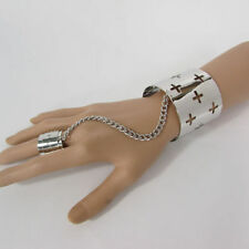 Women Silver Metal Crosses Hand Chain Fashion Cuff Bracelet Slave Ring Fingers