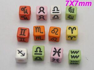 250 Assorted 12 Horoscopes Acrylic Cube Pony Beads 7X7mm Various Color