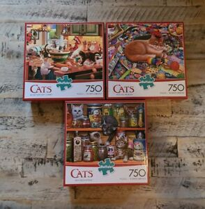 [LOT 3] Buffalo Games 750 Piece Jigsaw Puzzle CATS COMPLETE