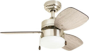 """30"""" Brushed Nickel LED Indoor Ceiling Fan with Light Kit"""