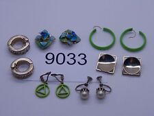 Vintage Jewelry LOT OF 6 Earrings GOLD TONE GREEN DESIGNS 9033