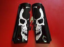 Grips White Face Skull on Black Resin grips, COLT KIMBER 1911 1991 Full size