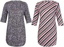 Womens New Plus Size Stripe Print Ladies Turn Up Sleeve Shape Hem Long Dress Top