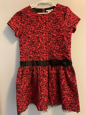 girls Christmas dress, red and black, black lace bottom,