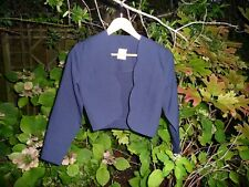 CLASSIC WOMAN lady's long sleeve navy scalloped summer jacket / bolero - Size 10