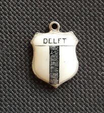 Vintage enamel DELFT Netherlands silver travel bracelet shield charm #2