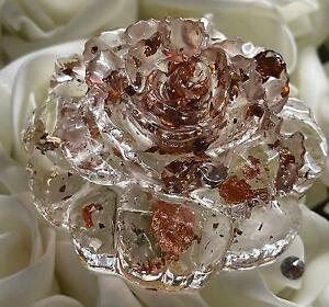Clear Gold & Copper Foil Leaf Resin 3D Rose Ornament. Cake Topper. Wedding Decor