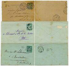 FRANCE POSTAL STATIONERY USED 5c ENV x 2 + 15c LETTERCARD 1884-91 HOLLAND +YONNE