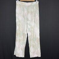Chicos Size 0 100% Linen Pants Wide Leg White Paisley Lagenlook Elastic Waist