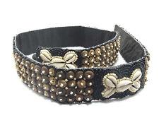 Cinturón Negro Perla Semilla Con cuentas & COWRIE conchas de coco, 33 pulgadas de ancho (4.5cm)