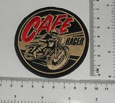 "Cafe Racer Vintage 3"" Rotondo Motociclista Ricamato Iron-on Toppa / Logo"
