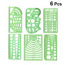 6x Plastic Students Geometric Shape Drawing Circle Template Ruler School Supply