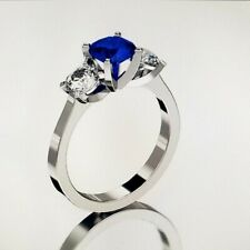 14 KT WHITE GOLD 6.5MM SAPPHIRE THREE STONE RING SIZE 8