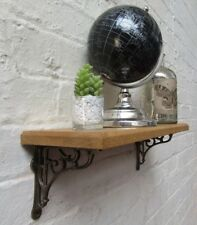 SOLID OAK WOOD HANDMADE SHELVES rustic wooden Shelf cast iron shelf brackets