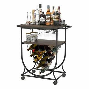 Industrial Kitchen Serving Cart w/ Brake Wheels, Handle, Bar Cart Metal Frame