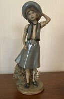 Blue Girl With Cat Holding Her Hat Statue Figure Vintage