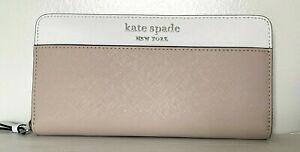 New Kate Spade Cameron Large Continental wallet Leather Warm Beige / White