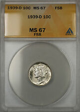 1939-D Silver Mercury Dime 10C ANACS MS-67 Full Split Bands (11)