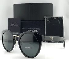 6166697828f Prada Round Sunglasses SPR 05T PR 05T Black Gray Lens 1AB-1A1 Brand New