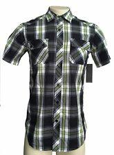 BURNSIDE F29 Mens Multi Color Plaid Checks Button Front Pocket S/S Shirt S NWT