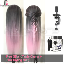 "22"" Hair Training Head Hairdressing Styling Mannequin Black Pink +Doll Braid Set"
