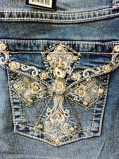 Earl Jeans Size 14 Silver Rhinestone Capri's Sexy Cute! NEW