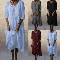ZANZEA Damen Langarm Baumwolle Maxikleid Runder Ausschnitt Kleid Seitentaschen