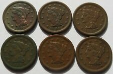 1848, 1851 1855 Braided Hair Large Cents, 6 Vintage Penny 1C coins