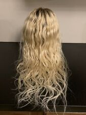 """Lace Front Human Hair Beater Wig Blonde 4/613 Rooted 13x6 18"""" Toned Silver 015"""