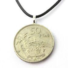 Collier pièce de monnaie Espagne 50 pesetas Juan Carlos I M couronné