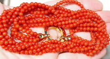 ANTIQUE 14k /STERLING ITALIAN UNDYED SARDINIA RED CORAL LARGE NECKLACE