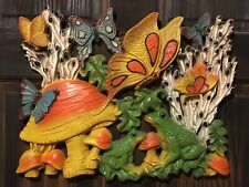 """Vintage Homco Mushroom Butterfly Frog Nature 18"""" Wall Hanging Plaque 1973 Retro"""