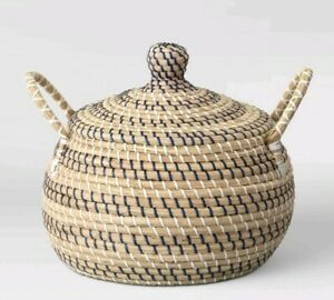Opalhouse Round Lidded Basket With Handles Striped