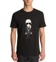 Karl Lagerfeld Mens T-Shirt Black Size XL Caricature Crewneck Tee $49 #067