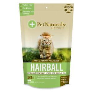 Pet Naturals Hairball Prevent Daily Digestive Cat Skin and Coat Support,30 Chews