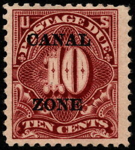 Canal Zone - 1924 - 10 Cents Deep Claret Overprinted Postage Due # J14 Mint Fine