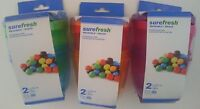 SUREFRESH SNACK CONTAINERS NEON W SCREW CAPS Reusable 9 Oz 2/Pk SELECT: Colors