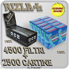 4500 Filtri RIZLA SLIM 6mm + 2500 Cartine OCB NERE PREMIUM CORTE + ACCENDINO