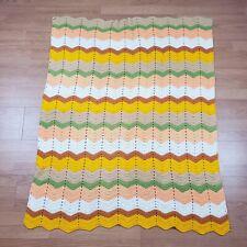 """Vintage Crochet Knit Yard Zig Zag Afgham Blanket Throw 42"""" X 52"""""""